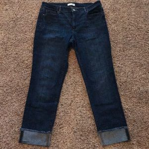 LOFT Curvy Straight Leg Frayed Cuff Jeans